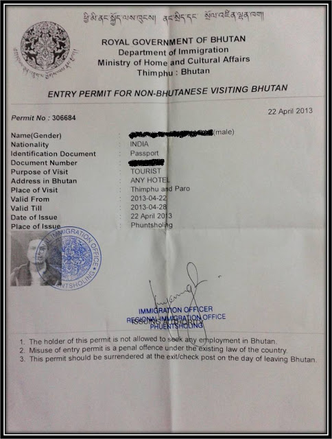Entry permit into Bhutan, Bhutan immigration