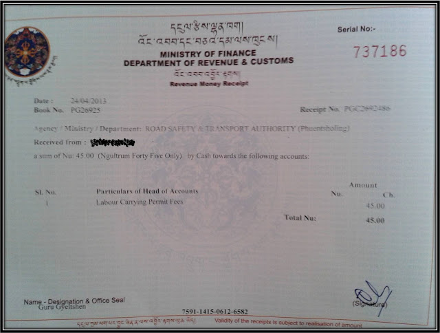 vehicle permit RSTA Bhutan