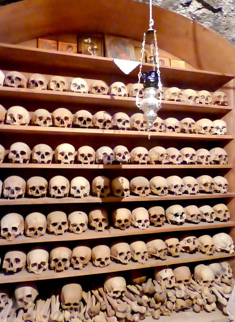 Skulls of monks in Great Meteoron monastery, Visit Meteora, Visit Greece, Places to see in Greece, Meteora travel guide